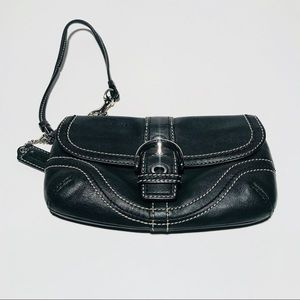Coach Black With White Stitching Wristlet
